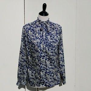 Vintage 70's China Pattern Silk Blouse